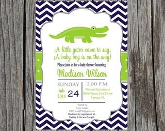 Alligator Baby Shower Invitation, baby boy shower, alligator baby shower, gator, custom and printable
