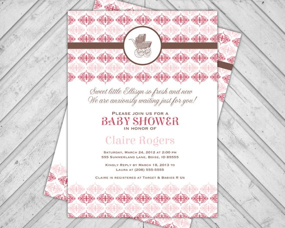 pink and brown baby shower invitation damask baby shower invite