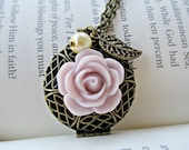 CLEARANCE-WAS 15.00 NOW 5.00 Vintage Locket - Frosted Lavender Rose - Antique Bronze Chain and Locket - Bead and Leaf Accents