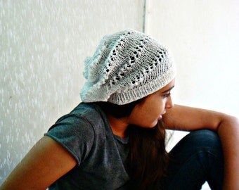 White Slouchy Hat, Summer Cotton Beanie, Tam Beret, Knit Cotton Hat