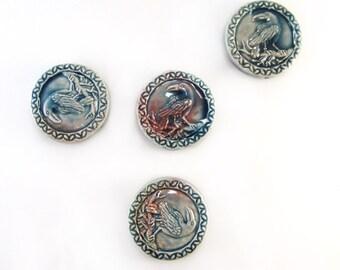 4 Raku Raven Peruvian Ceramic Beads