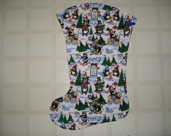 Penguin Winter Fabric Large Christmas Stocking