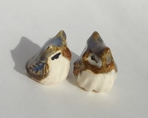 Owl Terrarium Figurine - Tiny Miniature  - Terrarium Owl - Fairy Garden Miniature - Ceramic Figurine -set of 2 (studio choice)