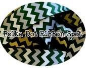 "Team Sports Chevron Ribbon 5 yards- 7/8"" or 1.5"" Forest Green, Grey, White Game Day Chevron printed grosgrain ribbon- hair bow craft ribbon"