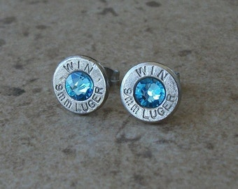 Winchester 9mm Lugger Nickel Bullet Earring, Lightweight Thin Cut, Aquamarine Swarovski Crystal, Surgical Steel Post - 466