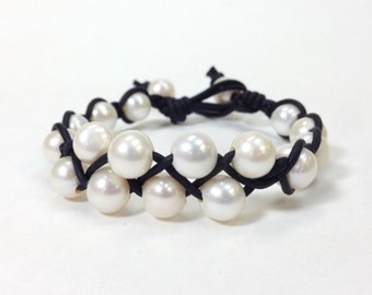 Freshwater Pearl and Leather Bracelet - Leather and Pearl Jewelry (SuDa)