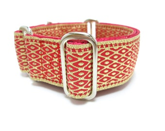"""Houndstown 1.5"""" Chainmaille Ruby Unlined Buckle or Martingale Collar, Any Size"""