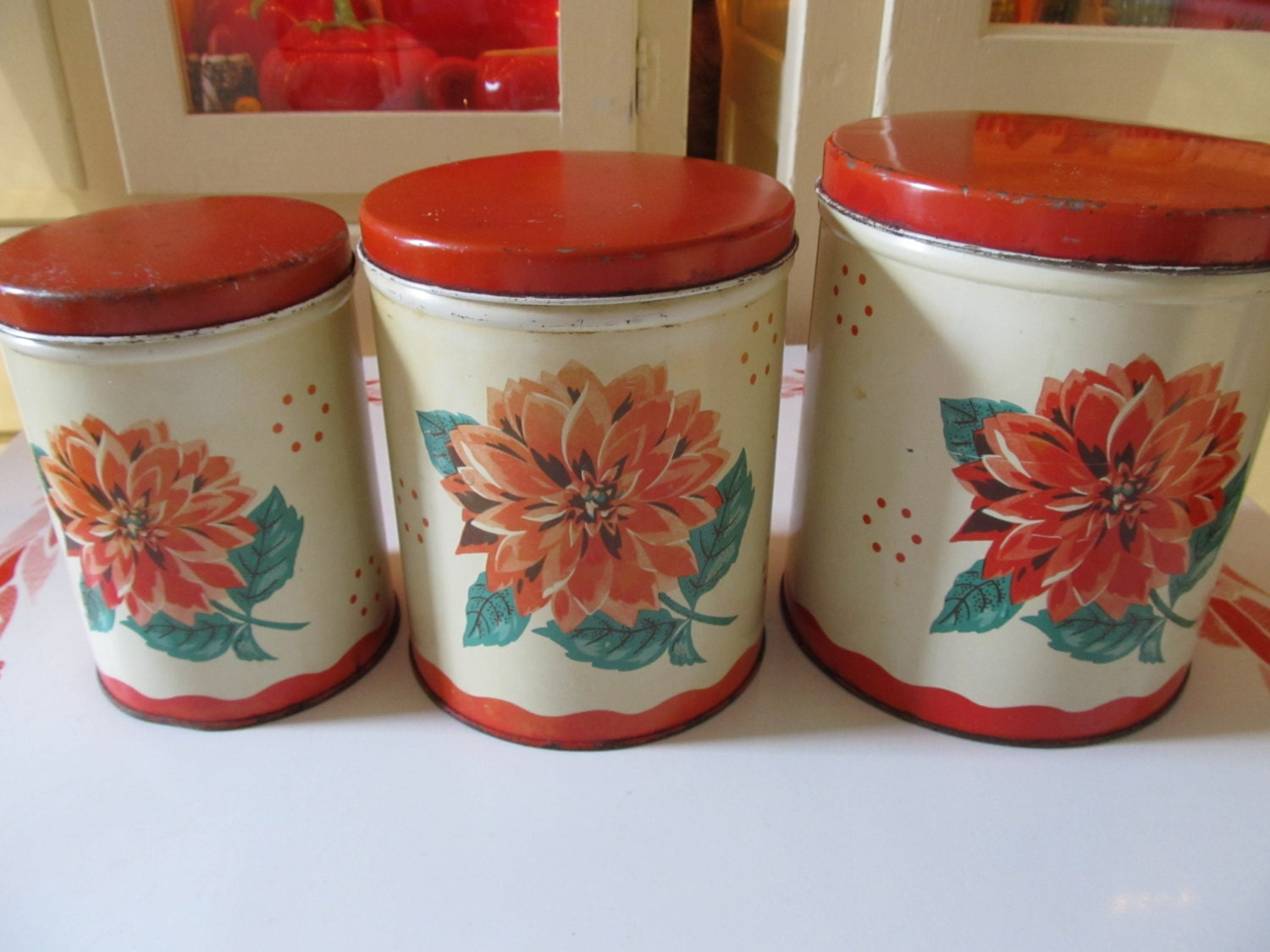 retro canisters kitchen vintage 1940 s retro kitchen canisters metal litho 125