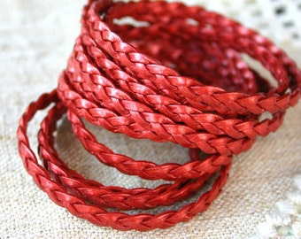 10 Meter Spool 5mm Flat Braided Leather Cord Metallic Moroccan Red