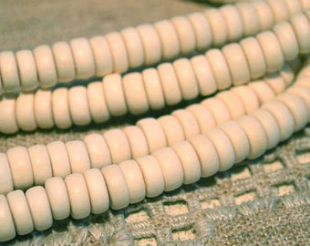 200pcs Wood Beads Rondelle White 8x4mm Flat Disc Round Coin 16x2 Inches Strand