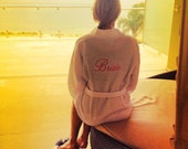 Personalized Wedding White Spa Robe Front and back embroidery and gift wrapping