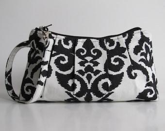 SALE- Wristlet Clutch Zipper Pouch, Bridesmaid Gift, Gift For Her,Bridesmaid Wristlet, Black Ikat