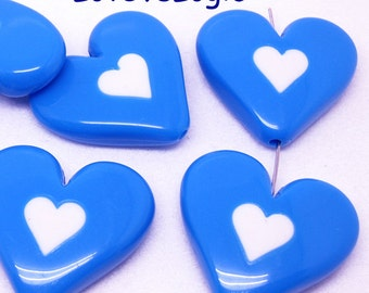 8 Huge Acrylic Puff Heart Beads. Blue with White Heart