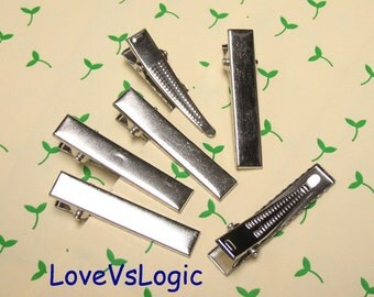 20 Alligator Hair Clips Single Prong With Teeth. 42mm