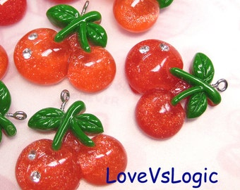 4 Glitter Juicy Cherry Lucite Charms