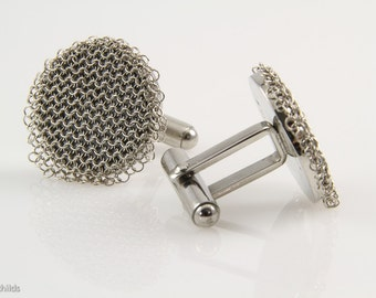 Vintage Chainmaille Silver Mesh Cuff Links, Nickel Plated Antique Silver Mesh, Stainless Steel Cuff Links AC1037 by Ashley Childs