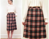 Vintage Pendleton Wool Skirt / Vintage Red Plaid Pencil Skirt / Small