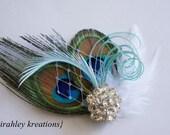 BARBIE - Peacock Feather Hair Clip Headpiece Fascinator White Pool Teal Blue Russian Veil & Rhinestone for Weddings Bride Bridesmaids Prom