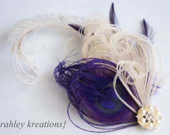 Ivory Eggplant Plum Purple Peacock Feather Hair Clip Wedding Bridal Bride Great Gatsby Fascinator Headpiece CELESTE Rhinestone Hairpiece