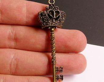 Antique key charms - 4 pcs - brass - antique bronze - 58mm x 20mm - ZAB4