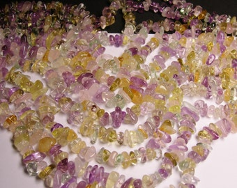 Citrine - amethyst - prehnite - rose quartz - mix quartz gemstone  - bead - full strand - pebble - chip stone - NRG91