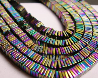 Hematite rainbow - 4mm x 1mm heishi square slice beads - full strand - 400 beads - A quality - PHG13