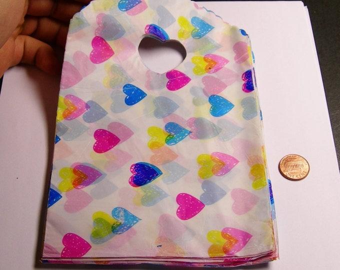 "QTY 50 - Plastic bags- Handle bags - retail bags - wholesale bags -heart handles - 5""x 8"" - LDPD45"
