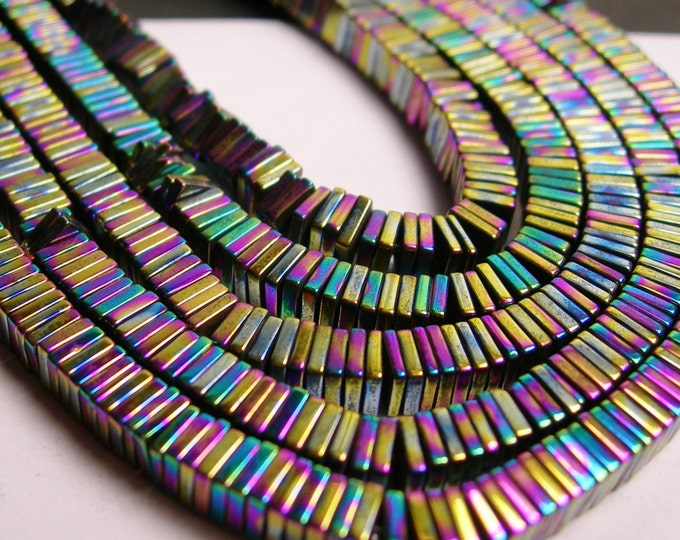 Hematite rainbow - 4mm x 1mm heishi square slice beads - full strand - 400 beads - A quality - PHG13