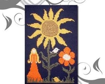PDF E pattern emailed Primitive Sunflower Primitive Cross Stitch Pattern Chart Design 10 *