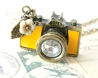 Yellow Camera Necklace - Light Tan Leather Antique Brass Charm Pendant with Czech Flowers