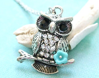 Owl Necklace -Owl with Flower