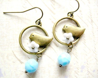 Bird Dangle Earrings, Bird Earrings, Bird with White Flower