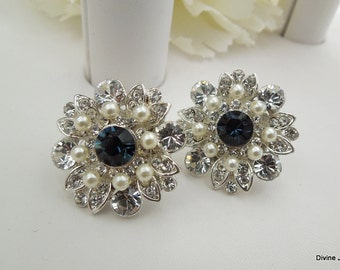 Bridal earrings Pearl Rhinestone Earrings Ivory Swarovski Pearls wedding  Earrings Something Blue crystal Earrings Pearl Earrings COLLEEN