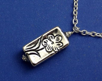 Silver Flower Necklace, Hill Tribes Silver, Rectangle Box Pendant