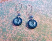 SEAHORSE Glass Cabochon Laser Cut Acrylic Round Glitter Charm Earrings