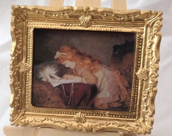 DOLLS HOUSE MINIATURES - Hand Framed picture - Girl drawing with cat (8)