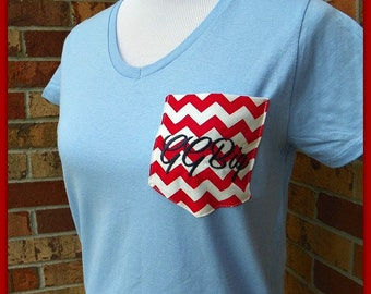 V-NECK Monogrammed Personalized Chevron Pocket Short Sleeve Tee Women's Size