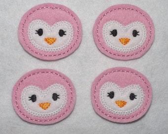 Feltie Machine Embroidered Hand made (4) Felt Penguin Face CUT Embellishments / appliques