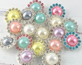 Set of 5- Metal Pearl Rhinestone Buttons, Metal Bella Buttons, 20mm You Choose Colors