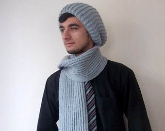 Gray scarf and hat,for dad or mother,for her or for him-Ready to ship
