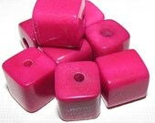 Two Deep Pink Fuchsia Tagua Nut Beads, Square Beads, 14mm Beads, Organic Beads, Natural Beads, Vegetable Ivory Beads, EcoBeads