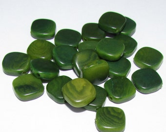 10 Tagua Beads Flat Diagonal Squares, 9-10mm, Forest Green, Organic Beads, Natural Beads, Vegetable Ivory Beads, EcoBeads
