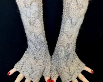 Fingerless Gloves Wrist Warmers Light Brown Grey Cabled