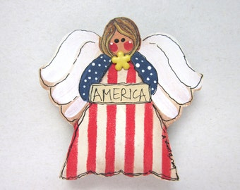 Patriotic Americana Angel Magnet, Patriotic Magnet, Angel Magnet, Americana Magnet, Small Angel, Red, White, and Blue Magnet, Tole Painted