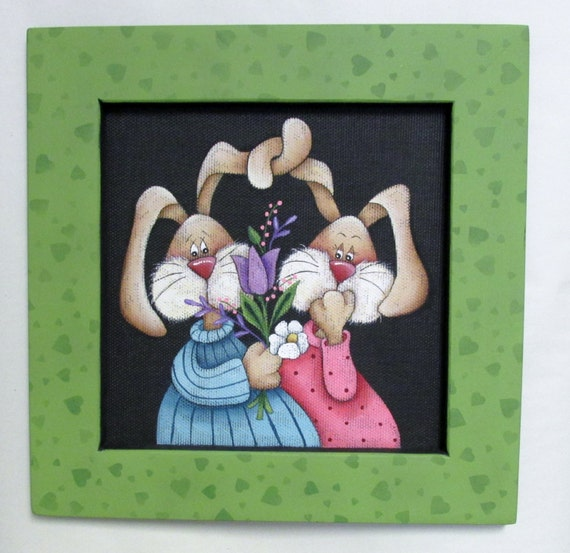 Bunny Couple with Flowers, Spring Time Art, Tole Painted, Framed in Greens