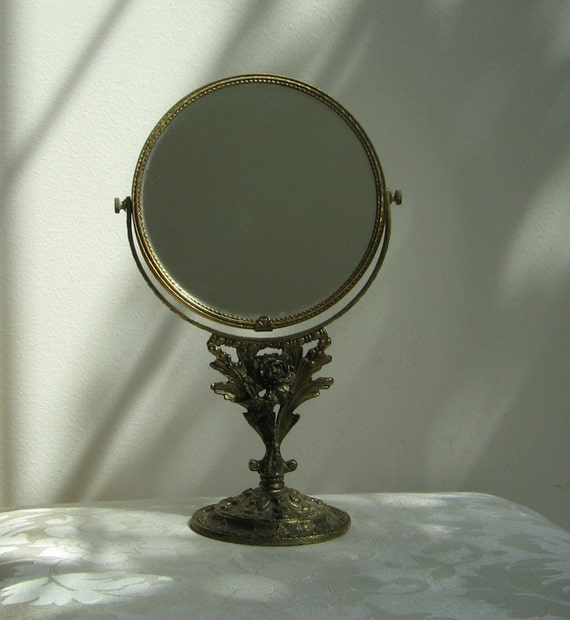 Vintage Globe Vanity Mirror Stand Ornate Antique Gold Ormolu