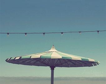 Teal Aqua Beach Photography - Blue - Fine Art Photography - umbrella, festival lights, boardwalk, santa cruz, california