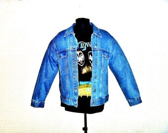 Vintage 90's Cropped Denim Jean Jacket by Bill Blass Men's Size Medium