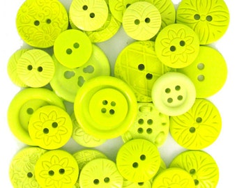 Jesse James Buttons Embellishments Color Me Lime Button Mixed Assortment Chartreuse Green