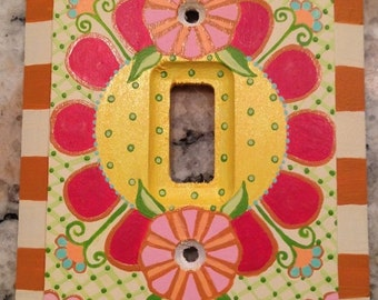 """Hand Painted Switch Plate Single Toggle One of a Kind Hand Painted Art Light Switch """"POPPY"""""""